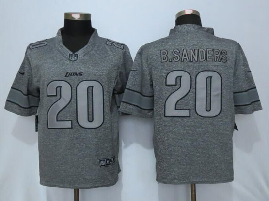 Mens Nfl Detroit Lions #20 Barry Sanders Gray Stitched Gridiron Limited Jersey