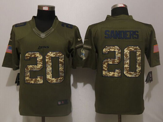 Mens Nfl Detroit Lions #20 Barry Sanders Green Salute To Service Limited Jersey