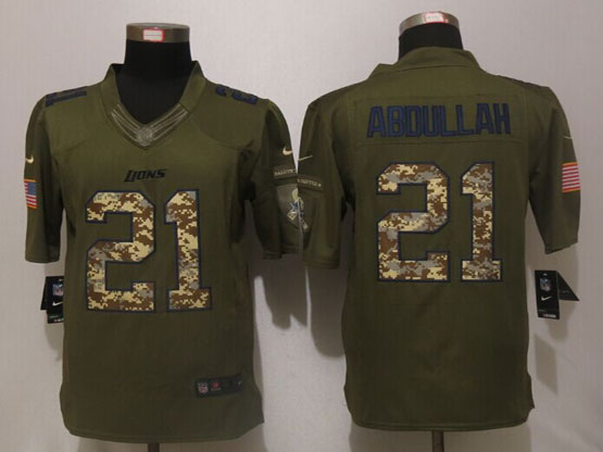 Mens Nfl Detroit Lions #21 Ameer Abdullah Green Salute To Service Limited Jersey
