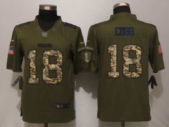 Mens Nfl Green Bay Packers #18 Randall Cobb Green Salute To Service Limited Jersey
