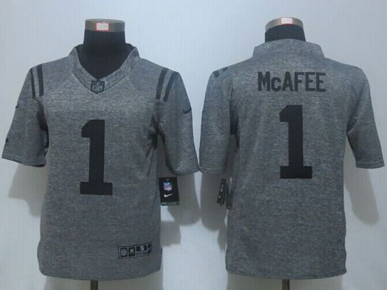 Mens Nfl Indianapolis Colts #1 Pat Mcafee Gray Stitched Gridiron Limited Jersey