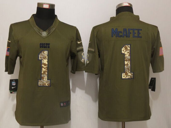 Mens Nfl Indianapolis Colts #1 Pat Mcafee Green Salute To Service Limited Jersey