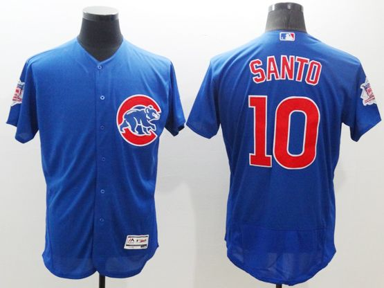 mens majestic chicago cubs #10 ron santo blue Flex Base jersey