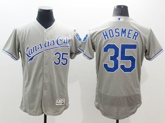 mens majestic kansas city royals #35 eric hosmer gray Flex Base jersey