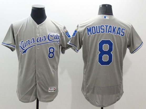 Mens Majestic Kansas City Royals #8 Mike Moustakas Gray Flexbase Collection Jersey
