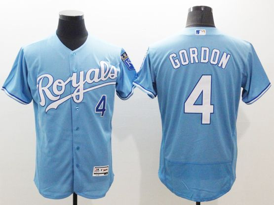 Mens Majestic Kansas City Royals #4 Alex Gordon Blue (royals) Flex Base Jersey