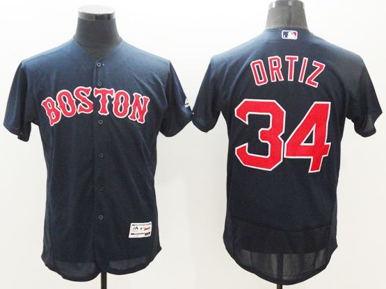 Mens Majestic Boston Red Sox #34 Ortiz Dark Navy Blue Cool Base Flexbase Collection Jersey