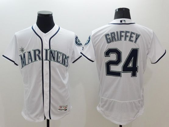mens majestic seattle mariners #24 ken griffey jr white Flex Base jersey