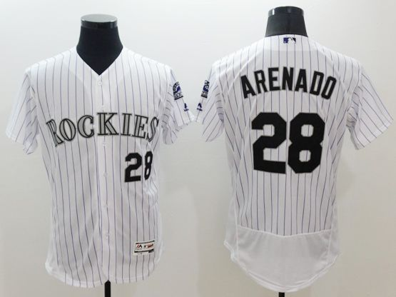 mens majestic colorado rockies #28 nolan arenado white stripe Flex Base jersey