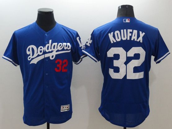 Mens Majestic Los Angeles Dodgers #32 Sandy Koufax Blue Flexbase Collection Jersey