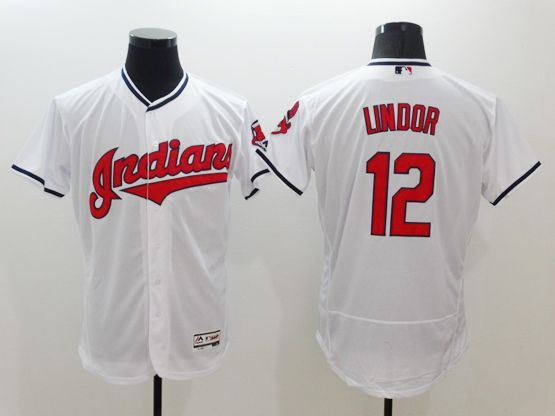 Mens Majestic Cleveland Indians #12 Francisco Lindor White Flexbase Collection Jersey