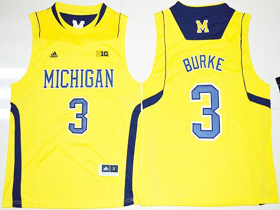 Mens Ncaa Nba Michigan Wolverines #3 Trey Burke Yellow Jersey