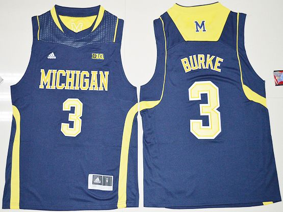 Mens Ncaa Nba Michigan Wolverines #3 Trey Burke Navy Blue Jersey