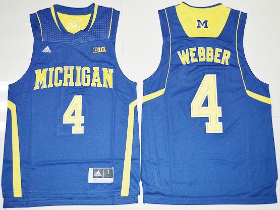 Mens Ncaa Nba Michigan Wolverines #4 Chirs Webber Navy Blue Jersey