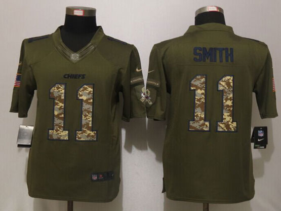Mens Nfl Kansas City Chiefs #11 Alex Smith Green Salute To Service Limited Jersey
