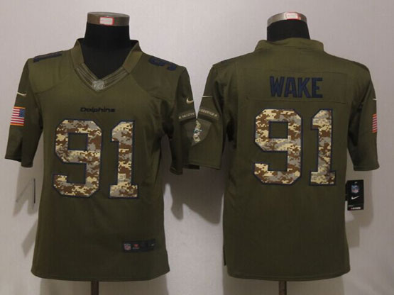 Mens Nfl Miami Dolphins #91 Cameron Wake Green Salute To Service Limited Jersey