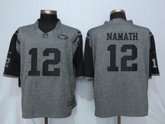 Mens Nfl New York Jets #12 Joe Namath Gray Stitched Gridiron Limited Jersey