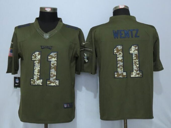 Mens Nfl Philadelphia Eagles #11 Carson Wentz Green Salute To Service Limited Jersey