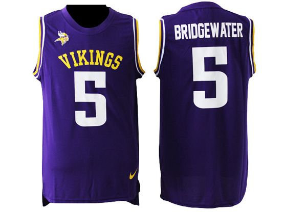 Mens Nfl Minnesota Vikings #5 Teddy Bridgewater Purple Tank Top Jersey