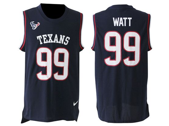 mens nfl Houston Texans #99 JJ Watt blue tank top jersey