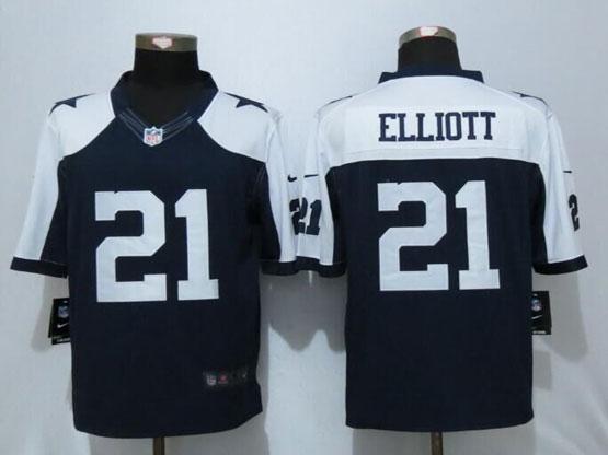 Mens Nfl Dallas Cowboys #21 Ezekiel Elliott Blue Thanksgiving Limited Jersey