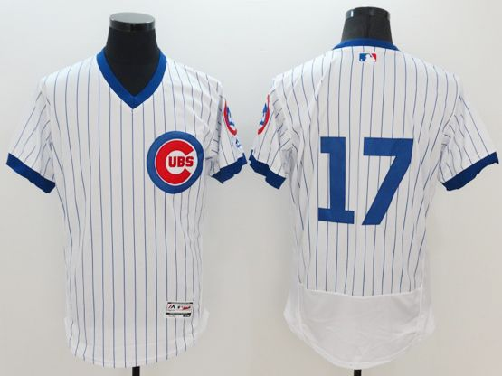 Mens Majestic Chicago Cubs #17 Kris Bryant White Stripe Pullover Flexbase Jersey