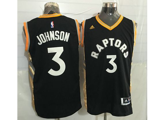 Mens Nba Toronto Raptors #3 James Johnson Black&gold Jersey