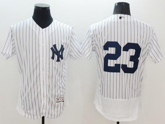 Mens Mlb New York Yankees #23 Don Mattingly (no Name) White Stripe Flex Base Jersey