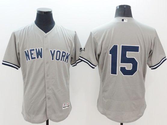 Mens Majestic New York Yankees #15 Thurman Munson Gray Flexbase Collection Jersey