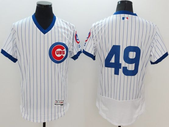 mens majestic chicago cubs #49 jake arrieta white stripe pullover Flex Base jersey