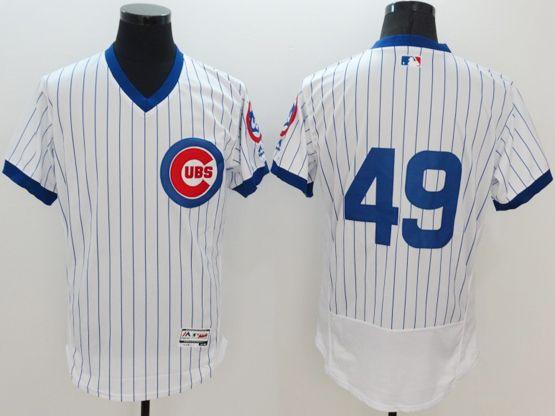 Mens Majestic Chicago Cubs #49 Jake Arrieta White Stripe Pullover Flexbase Jersey