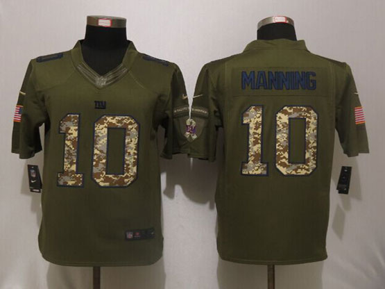 Mens Nfl York Giants #10 Eli Manning Green Salute To Service Limited Jersey