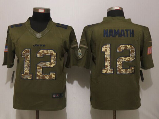 Mens Nfl New York Jets #12 Joe Namath Green Salute To Service Limited Jersey