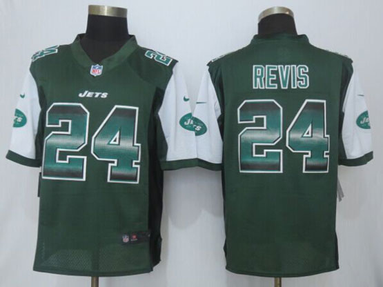 Mens Nfl New York Jets #24 Darrelle Revis Green Strobe Limited Jersey