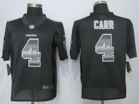 Mens Nfl Oakland Raiders #4 Derek Carr Black Strobe Limited Jersey