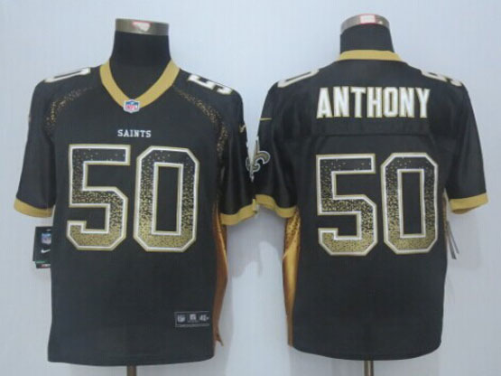 Mens Nfl New Orleans Saints #50 Stephone Anthony Black Drift Fashion Elite Jerseys