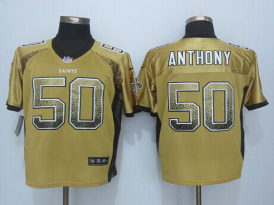 Mens Nfl New Orleans Saints #50 Stephone Anthony Gold Drift Fashion Elite Jerseys