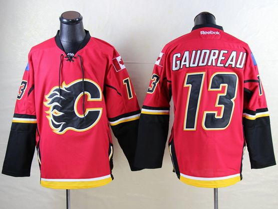 Mens Reebok Nhl Calgary Flames #13 Johnny Gaudreau Red Jersey