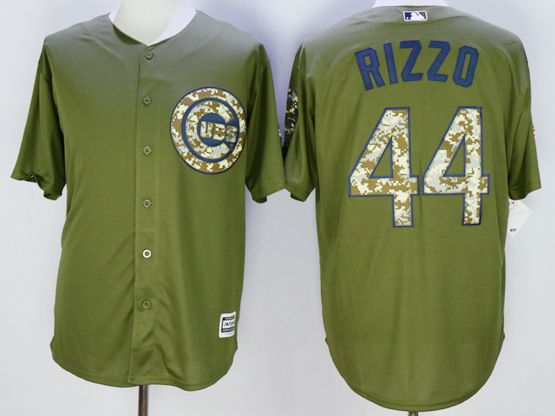 Mens Mlb Chicago Cubs #44 Anthony Rizzo Army Green Fashion 2016 Memorial Day Jersey