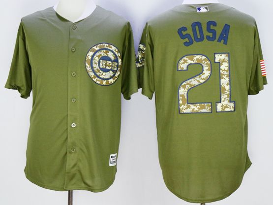 Mens Mlb Chicago Cubs #21 Sammy Sosa Green Fashion 2016 Memorial Day Jersey