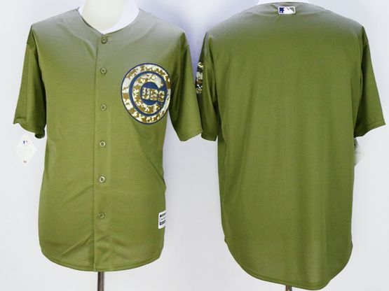 Mens Mlb Chicago Cubs Blank Army Green Fashion 2016 Memorial Day Jersey