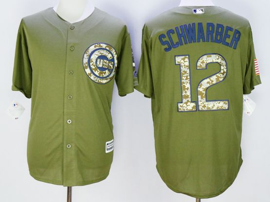 Mens Mlb Chicago Cubs #12 Kyle Schwarber Army Green Fashion 2016 Memorial Day Jersey