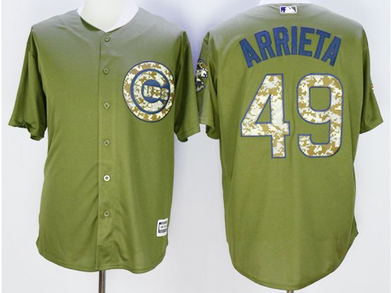 Mens Mlb Chicago Cubs #49 Jake Arrieta Green Fashion 2016 Memorial Day Jersey