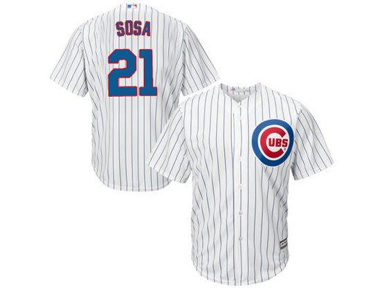 Mens Mlb Chicago Cubs #21 Sammy Sosa White Stripe Cool Base Jersey