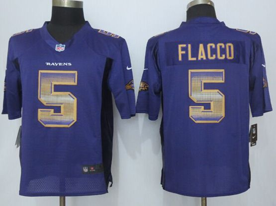 Mens Nfl Baltimore Ravens #5 Joe Flacco Purple Strobe Limited Jersey