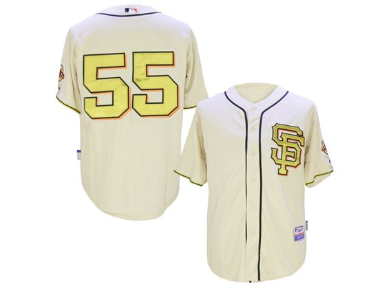 Mens Mlb San Francisco Giants #55 Tim Lincecum Rice White 2014 Champion Version Jersey