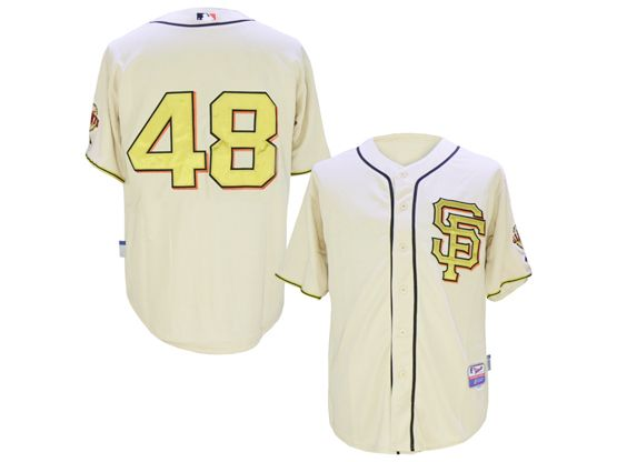 Mens Mlb San Francisco Giants #48 Pablo Sandoval Rice White 2014 Champion Version Jersey