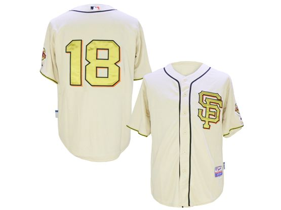 Mens Mlb San Francisco Giants #18 Matt Cain Rice White 2014 Champion Version Jersey