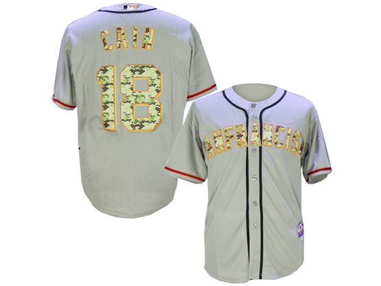 Mens Mlb San Francisco Giants #18 Matt Cain Gray Camo Usmc Jersey
