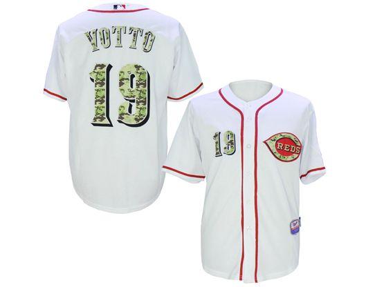 Mens Mlb Cincinnati Reds #19 Joey Votto White Camo Usmc Jersey